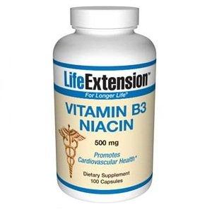 Life Extension Vitamine B3 Niacine 500 mg Capsule, 100-Comte