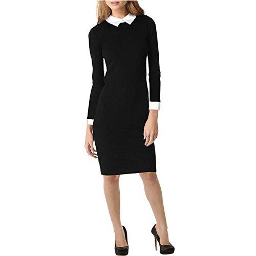 fiesta la coctel manga lapiz de del para vestido noche R de apretado estiramiento delgada larga Negro S Mujer del SODIAL de la qPvEwCFO