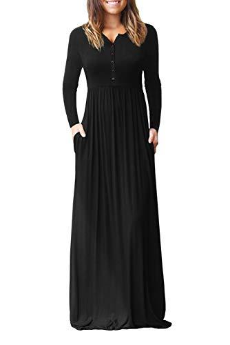 with Long Long Black Dress Down Sleeve Lovezesent Pocket Loose Maxi Women Plain Button qpHx0vxF