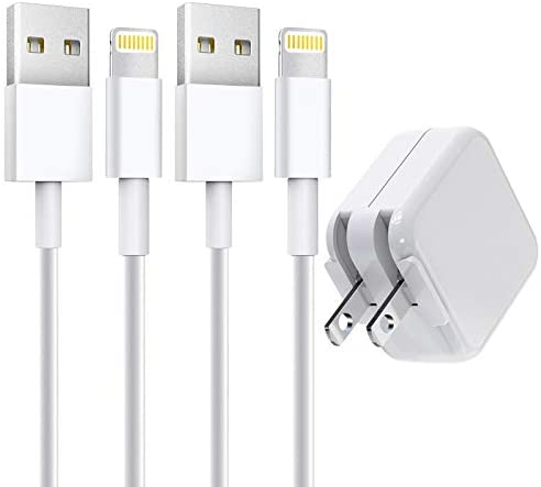 [Apple MFi Certified] iPad Charger, Stuffcool 2.4A 12W USB Wall Charger with Foldable Plug & 2 Pack 6FT Lightning Cable Fast Charging Data Sync Transfer Compatible with iPhone 12/11/XS/XR/X 8 7 6/iPad