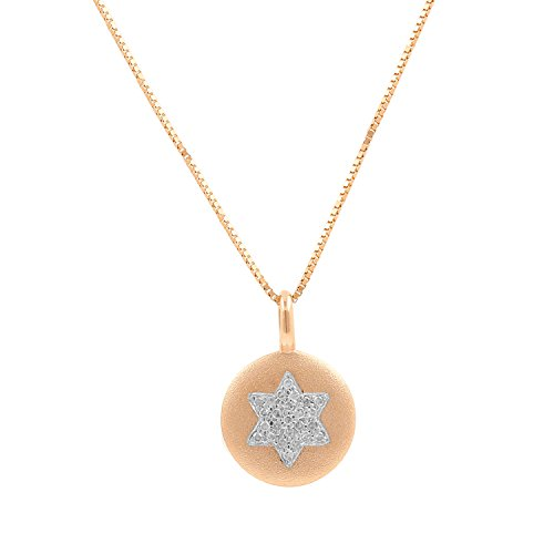 David Diamond Disc Pendant (10kt Pink Gold Sandblast Disc 0.07ct Diamond Accent Star of David Mini Pendant Necklace, 18 Inch)