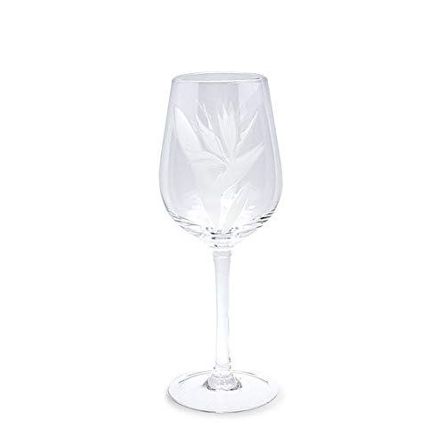 4 Etched Wine Glasses Bird Of Paradise