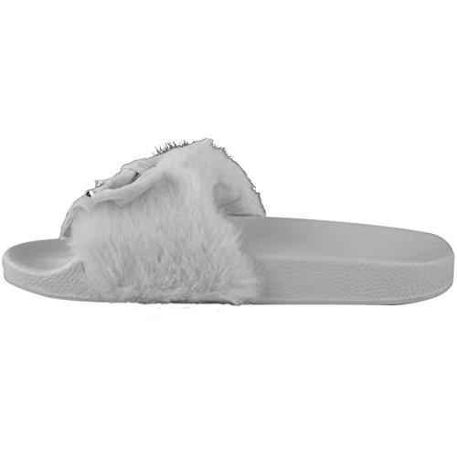 grise Fausse nu doux fourrure strass femmes pieds fourrure été confortables noeud fausse Sandales Pq6zHwT