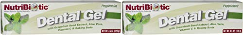 Nutribiotic Pepppermint Dental Gel (Pack of 2) With Grapefruit Seed Extract, Aloe Vera, Vitamin C, Baking Soda, Boron, Calcium and Vitamin E, Sulfate Free, Vegan, 4.5 oz.