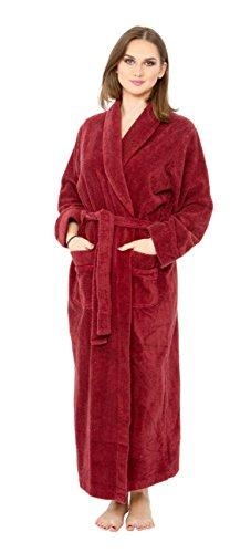 - Bath & Robes Women's 100% Cotton Chenille Robe, Long Bathrobe Maroon 1X
