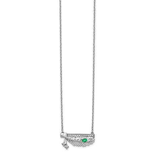 Jewelry Necklaces Necklace with Pendants 14k White Gold Diamond Bar with Emerald Feather ()