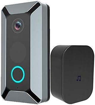 SPRIS Inicio Smart Wireless timbre de la puerta, inalámbrico Wifi vídeo timbre de la puerta de intercomunicación IP 720P inteligente teléfono de la puerta de la cámara IR Noche (Color : Silver):