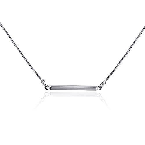 CISHOP Minimalist Balance Sterling Silver Bar Pendant Necklace for Women by CISHOP