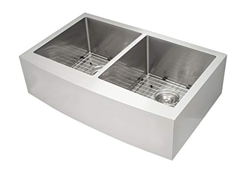 - Ancona AN-3333 Prestige Series Farmhouse Apron Undermount Stainless Steel 33 in. 50/50 Double Bowl Handmade Sink with Grid and Strainer