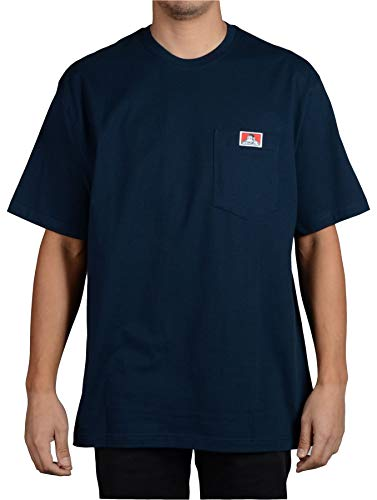 Ben Davis Men's Classic Label Short Sleeve Heavy Duty T-Shirt (Navy, X-Large)
