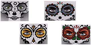 Halloween Face Art Stickers, 4 Pack Skull/Day of the Dead -