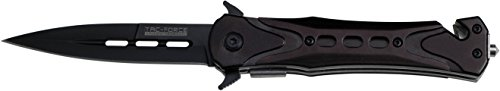 (TAC Force TF-719BK Assisted Opening Folding Tactical Knife 4.5-Inch Closed, Black Blade, Black Handle)