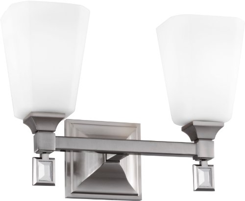 Feiss VS47002-BS Sophie Glass Wall Vanity Bath Lighting, Satin Nickel, 2-Light (14
