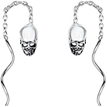 EleQueen 925 Sterling Silver Vintage Inspired Gothic Skull Chain Ear Threader Drop Earrings