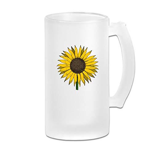 Sunflower Clipart Frosted Glass Stein Beer Mug - Personalized Custom Pub Mug - 16 Oz Beverage Mug - Gift For Your Favorite Beer Drinker