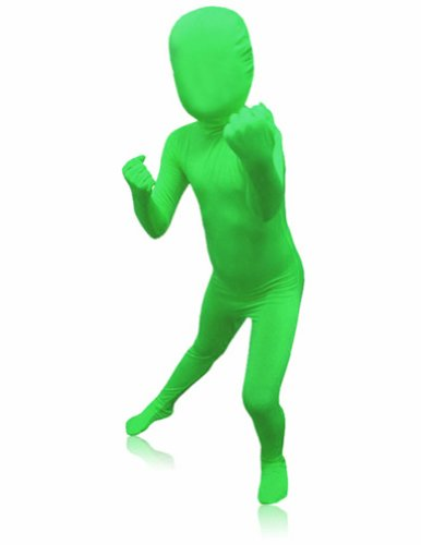 Green Body Suit Costume (SecondSkin Men's Full Body Spandex/Lycra Suit, Green, Kids L)