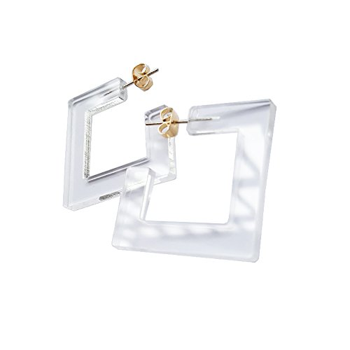 (New Arrival Creative Transparent Acrylic Material Exaggerated Square Shape Candy Colors Women/Girl's Charm Earrings Ear Studs(5cm))