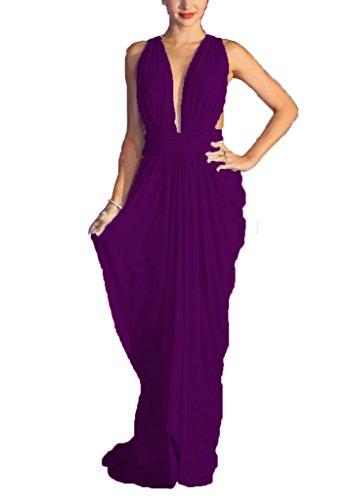 Red Gowns C024 Sexy Floor Chellen neck Carpet Prom Sleeveless Length Deep V Purple Evening SggPnW0q