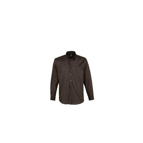 Bel Noir air Sols À Chemise 100 Coton Sergé Homme De Manches Travail Longues 6d57xw
