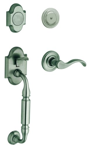- Baldwin 85305.151.LFD Canterbury Sectional Trim Left Hand Dummy Handleset with Wave Lever, Antique Nickel