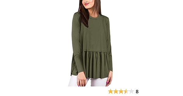 For G and PL Women Long Sleeve Ruffle Flare Swing Shirt Peplum Tops