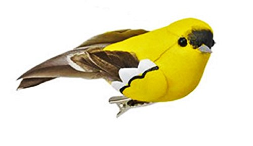 Decorative Bird Ornaments with Clips for Trees, Wreaths, Arts & Crafts, Red Cardinal or Gold Finch, 3-pc Sets (Yellow)
