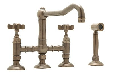 (Rohl A1458XMWS-2PN Polished Nickel 3 Leg Bridge Kitchen Faucet with Handspray and Cross Handles)