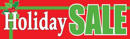 B20BOW Holiday Sale Bow Seasonal & Christmas Indoor Outdoor Banners Furniture & Retail Business Store Signs 13 oz HD Vinyl Gloss Banner with Metal Grommets, Rope & Taped Hemmed Sides (3' x 10') ()