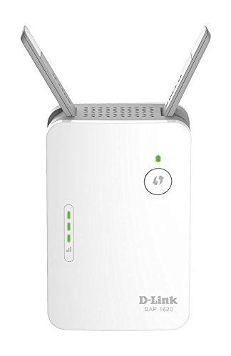 D-Link DAP-1620 - Repetidor WiFi AC1200 (1 puerto LAN Gigabit Ethernet RJ-45 10/100/1000 Mbps, 2 antenas externas abatibles, punto de...