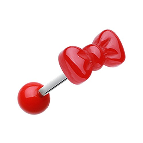 Cutesy Bow-Tie Acrylic Freedom Fashion Barbell Tongue Ring (14 GA, 5/8