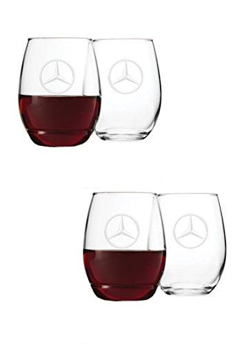 Mercedes Benz 21 oz. Stemless Wine Glass set of - Glasses Benz