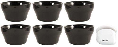 ITI Ceramic Stackable Bouillon Cups with Pan Scraper, 7 Ounce, 6-Pack (Black) by MBW NW Brands (Image #2)
