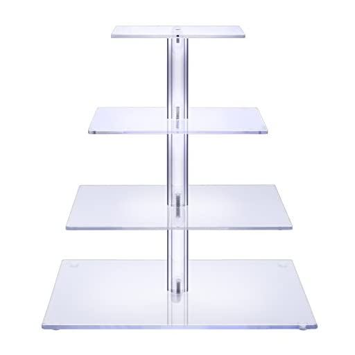 BonNoces 4 Tier Acrylic Glass Square Cupcake Stand - Tiered Cake Stand - Clear Stacked Party Cupcake Tree - Dessert Display Holders - Cupcake Tower For Wedding, Happy Birthday