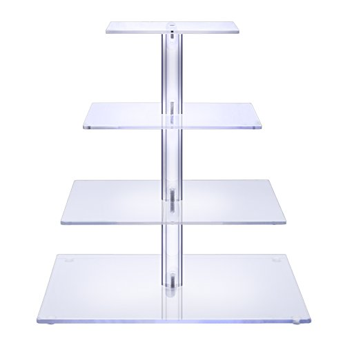 BonNoces 4 Tier Acrylic Glass Square Cupcake Stand - Tiered Cake Stand - Clear Stacked Party Cupcake Tree - Dessert Display Holders - Cupcake Tower For Wedding, Happy (Brownie Tower)