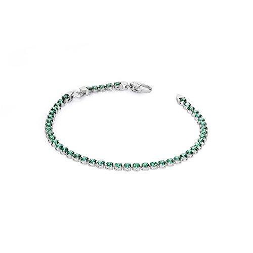 Rosé Tennis Bracelet Femme-Argent-Oxyde de zirconium (vert)-BR19B Taille 18