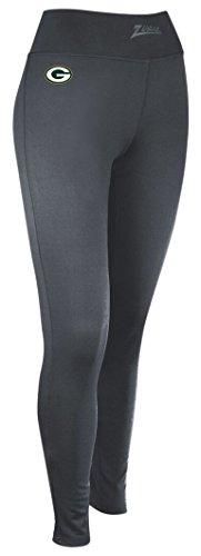NFL Green Bay Packers Women's Zubaz Solid Team Logo Leggings, Medium, Charcoal