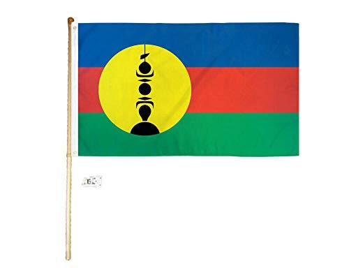 Ant Enterprises 5' Wood Flag Pole Kit Wall Mount Bracket 3x5 New Caledonia Country Poly Flag - Caledonia New Flag