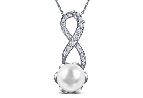9 mm Akoya Cultured Pearl and 0.1 carat total weight diamond accent Necklace in 14KT White - Cultured Necklace Pearl Mastoloni