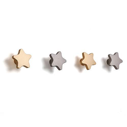 SDH Wall Hooks, Stars Theme, Heavy Duty, Modern, Garment Friendly, Matt Silver and Matt Gold Color, Pack in 4 Hooks