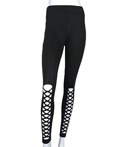 YAANCUN Mujer Pantalones De Yoga De Gimnasio Deportes De Cintura Alta De Malla Delgado Leggings Negro