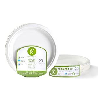 Repurpose 100% Compostable, Tree Free, Plant-Based Plates, Round, 9 inch (240 Count)