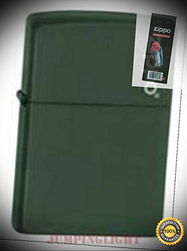 221zl Green Matte Lighter with Flint Pack - Premium Lighter Fluid (Comes Unfilled) - Made in USA!