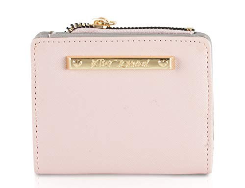 (Betsey Johnson French Foldover Snap Bifold Clutch Wallet Purse - Pink/Grey)