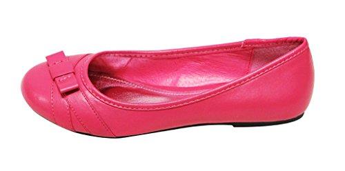 Lasonia M1191 Mujeres Punta Redonda Nudo Del Arco Decoración Slip On Boat Ballet Zapatos Planos De La Pu Fucsia