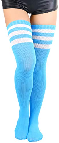 - ToBeInStyle Women's Thigh Highs With Three Stripe Top - Neon Blue - OS