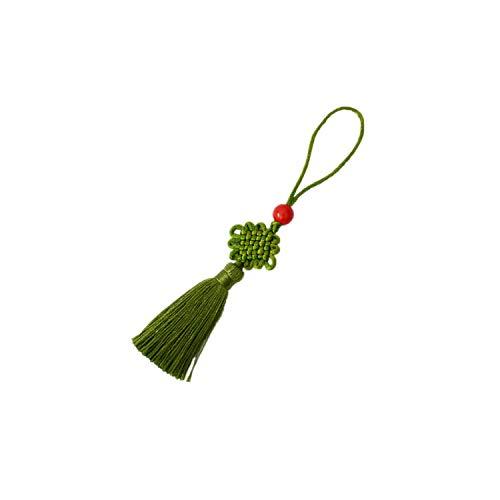 (Tassels 1 Piece Mini Key Tassel Beaded Fringe Chinese Knots for Fan Comb Bookmark Bag Hats Car Cross-Stitch)