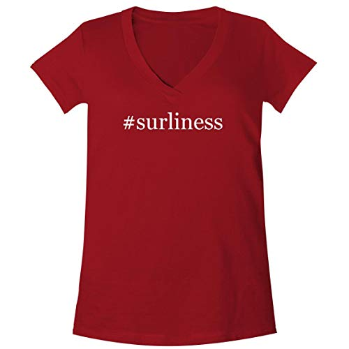 #Surliness - A Soft & Comfortable Women's V-Neck T-Shirt, Red, Medium (Surly Hubs)
