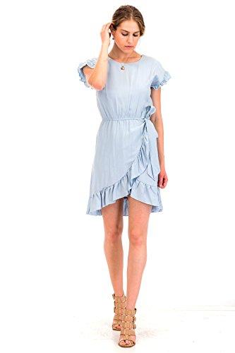 Malibu Days Ruffle Sleeve Wrap Dress w/Side Tie (Wrap Tie Dress)