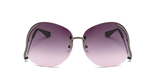 New Fashion Rimless Metal Oversized Polarized Women's Sunglasses Purple