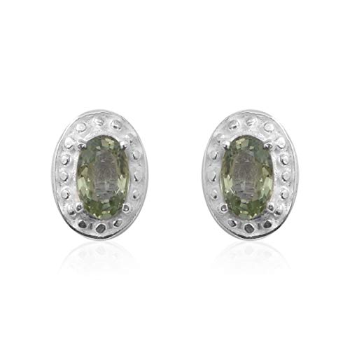 925 Sterling Silver Oval Green Sapphire Fashion Solitaire Earrings for Women Cttw 0.5